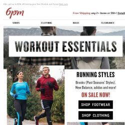 [6pm] On Sale: Workout Essentials from Brooks, adidas and more!