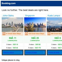 [Booking.com] Johor Bahru, Singapore and Kuala Lumpur -- great last-minute deals as low as S$ 9!