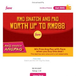 [Fave] ✨Hey, want to get FREE RM288 Ang Pao?