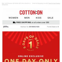 [Cotton On] 🌟 8 DAYS OF DEALS STARTS NOW! 🌟 $18 Dresses + more