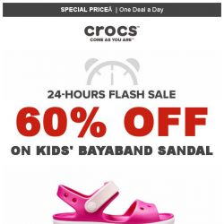 [Crocs Singapore] 【1 DEAL a DAY 】 Kids' Bayaband Sandal 60% off! Today Only!