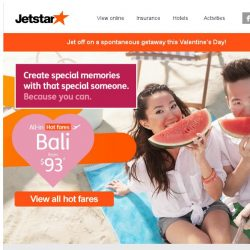 [Jetstar] 💕 Spice up your Valentine's Day with a getaway! Bali, Bangkok and more await.