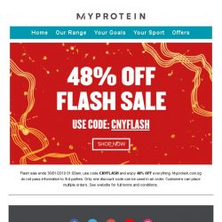 [MyProtein] ⏰ Ends Midnight - 48% Off Everything!