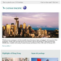 [Cathay Pacific Airways] Japan and USA on sale from SGD608 all-in