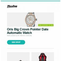 [Massdrop] Oris Big Crown Pointer Date Automatic Watch, Altra Superior 3.5 Trail Running Shoes, AKRacing Nitro Gaming Chair – Massdrop Exclusive and more...