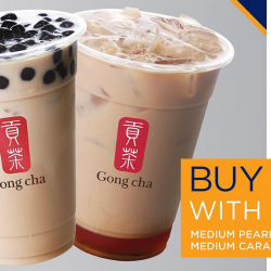 Gong Cha: Enjoy 1-for-1 Medium Pearl Milk Tea or Caramel Milk Tea with KrisPay!