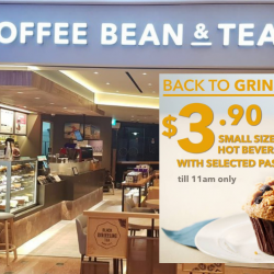 The Coffee Bean & Tea Leaf: Enjoy a Small Sized Hot Beverage with Selected Pastry for Breakfast at only $3.90!