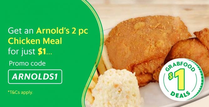 GrabFood: Get a 2pc Chicken Meal from Arnold's at $1 with FREE
