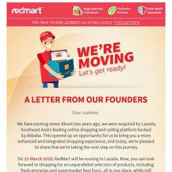 [Redmart] Important announcement: we're moving to Lazada