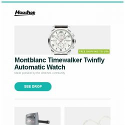 [Massdrop] Montblanc Timewalker Twinfly Automatic Watch, X3 Hurricane Variable Speed 260+ MPH Air Compressor, TONEKING T88K IEM and more...