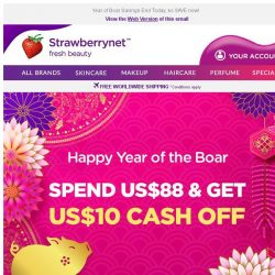 [StrawberryNet] 😍 Last Chance! Spend US$88 Get US$10 Instant Cash Off!