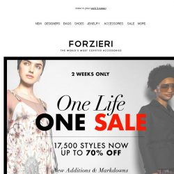 [Forzieri] One life, One Sale | True Black Friday is Now