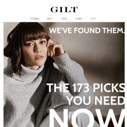 [Gilt] 12 hours to shop 173 picks. No time to waste.