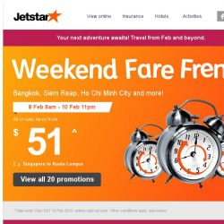 [Jetstar] 🕗 Continue the celebration with frenzy fares to Bangkok, Ho Chi Minh City and more!