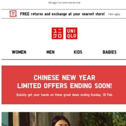 [UNIQLO Singapore] CNY Limited Offers are ending!