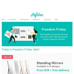 [HipVan] ✨ Standing mirrors from $39 this Freedom Friday! Today only! ✨
