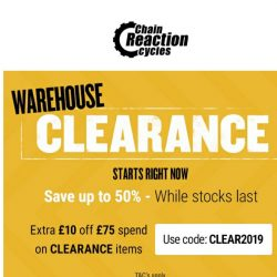 [Chain Reaction Cycles] Tyres…Footwear…Turbo Trainers….All in Warehouse Clearance!