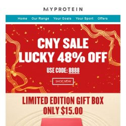 [MyProtein] CNY Sale - 48% Off Everything Today
