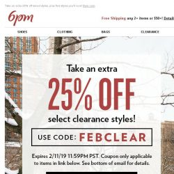 [6pm] Extra 25% off Select Styles (coupon inside)!
