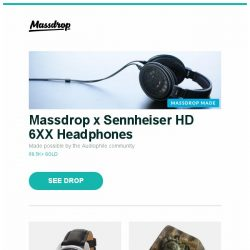 [Massdrop] Massdrop x Sennheiser HD 6XX Headphones, Glycine Combat 6 Classic Automatic Watch, Dwarf Factory PAM Artisan Keycap and more...