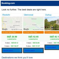 [Booking.com] Riedwihr, Glenrossal, or Durbuy? Get great deals, wherever you want to go