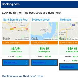 [Booking.com] Saint-Bonnet-de-Four, Svetlogorskoye, or Mollinburn? Get great deals, wherever you want to go