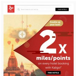 [Kaligo] 3-day flash sale: Earn DOUBLE MILES on every hotel booking
