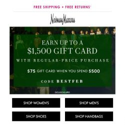 [Neiman Marcus] Last day for $75+ gift card
