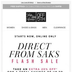 [Saks OFF 5th] Online delivery: Up to 75% off pieces direct from Saks