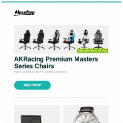 [Massdrop] AKRacing Premium Masters Series Chairs, WOLF Roadster Watch Winders, Orient Star Classic Automatic Watch and more...