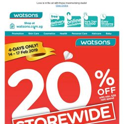 [Watsons]   20% OFF STOREWIDE + 6% POSB Cash Rebate!