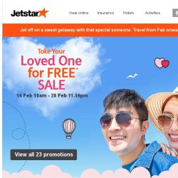 [Jetstar] 💕 Take Your Loved One for FREE^ on a sweet escape! Sale ends 28 Feb.