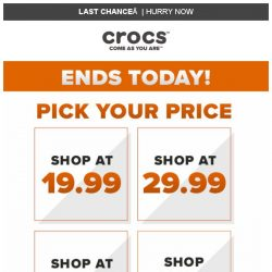 [Crocs Singapore] 【Ends Today】 Pick your Price: $19.99 / $29.99 / $39.99