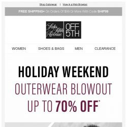 [Saks OFF 5th] Outerwear blowout: Up to 70% off this holiday weekend