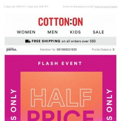 [Cotton On] What's HALF price? All this 👉