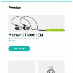 [Massdrop] Macaw GT600S IEM, Topping DX7s Balanced DAC/Amp, Mondaine Gottardo 2016 Quartz Watch and more...