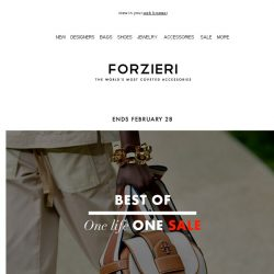 [Forzieri] One life, One SALE: Karl Lagerfeld, JW Anderson, Furla up to 70% OFF