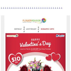 [Floweradvisor] Good News: Here's 10% Off For Your Late Valentine's Day.
