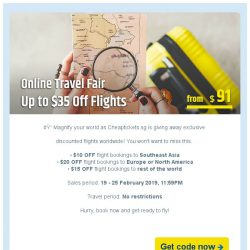 [cheaptickets.sg] 【ONLINE TRAVEL FAIR】We mean it: Up to $35 OFF Flights!