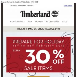 [Timberland] Prepare for March Holidays? Take Extra 30% OFF