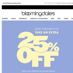 [Bloomingdales] 3 days only! Take an extra 25% off sale and clearance