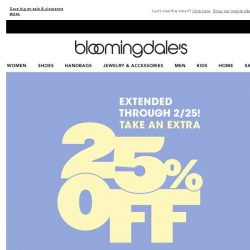[Bloomingdales] Offer extended! Take an extra 25% off