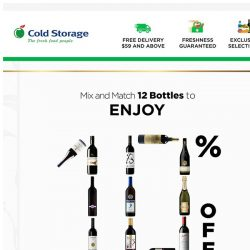 [Cold Storage] Mix & Match 12 Wine Bottles to enjoy 10% OFF!