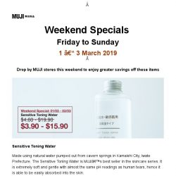 [Muji] MUJI Weekend Specials: 1 - 3 March 2019
