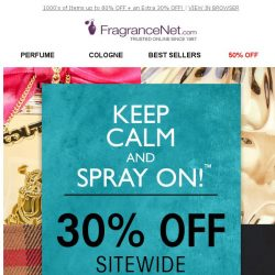 [FragranceNet] Get going! You're FIRST in line for our awesome sitewide offer