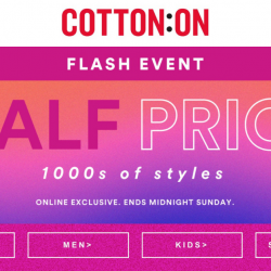 Cotton On: 2-Day Online Exclusive Sale with 50% OFF 1000s of Styles!