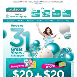 [Watsons] Get $40 coupons with min $80 spent