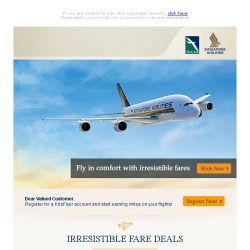 [Singapore Airlines] 1 week left to book special fares