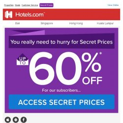 [Hotels.com] (1) invitation! We're serious, you can save up to 60% with Secret Prices