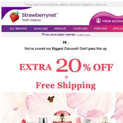 [StrawberryNet] , Live Fabulously. Get 20% Off + Free Int'l Shipping!